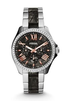 #Fossil Cecile Multifunction Stainless Steel and Acetate Watch Two-Tone #fossilstyle