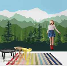Peel & stick removable wallpaper Ombre gradient mountain pine