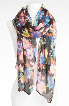 BP. Watercolor Print Chiffon Scarf | Nordstrom