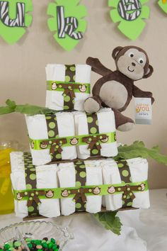 3 Tier Square Monkey Diaper Cake Safari Diaper Cakes, Monkey Diaper Cakes, Baby Shower Parties, Baby Shower Gifts, Baby Gifts, Shower Party, Hospital Gifts, Little Monkeys, Creative Decor