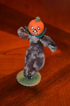pumpkin head pipe cleaner spun cotton, 40's and 50's, Japan