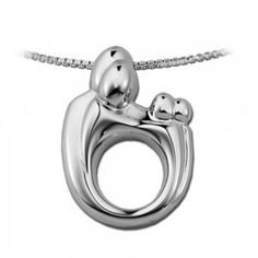 Large Sterling Silver Mother and Child Family Twin Pendant Necklace by Janel Russell