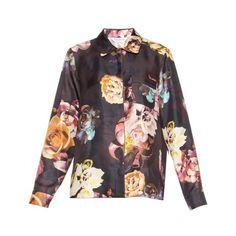 Max Mara Miretta shirt (€620) ❤ liked on Polyvore featuring tops, navy print, print tops, pattern shirts, navy shirt, navy blue shirt and print shirts