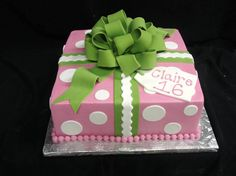Your sweet 16 teen will most likely mistake this pink and green polka-dotted cake as a present. @PartyFlavors #PartyFlavors