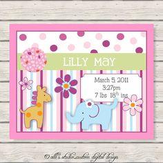 Lollipop Jungle Baby Nursery Wall Print 8x10 Announcement / Pink Border