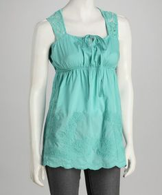 Take a look at this Turquoise Tile Crochet-Back Babydoll Tunic by Panitti on #zulily today! $13.99, regular 40.00