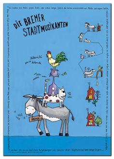 Kinderzimmer Kinder Poster, Kids Poster mit Märchen: Bremer Stadtmusikanten, Illustrated Children's Poster, The Bremen town musicians; Kids, Child, Baby, Nursery Art, German Fairy Tale