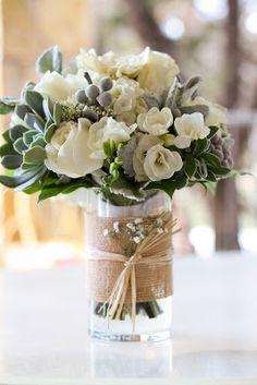 Bridal bouquet // rustic and romantic wedding flowers // blogger wedding // fressia gardenia hydrangea echeveria dusty miller // c. Kim Hayes Photography