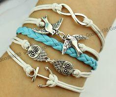 infinity wish bracelet lover bird bracelet cute owl by Goodlife188, $5.99