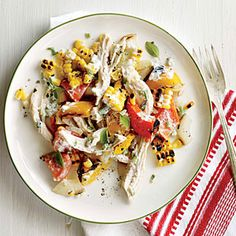 Grilled Corn, Chicken, and Bell Pepper Salad | Cooking Light #myplate #veggies #dairy