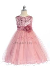 Click to enlarge : Gorgeous Rose Pink Sequined Round Neck Tulle Overlaid Girl Dress  K305-PK