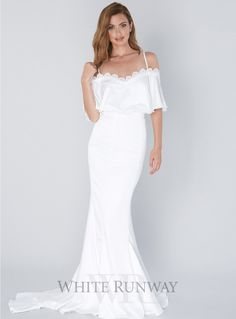 Shante Dress. A beautiful gown by Elle Zeitoune. An off-shoulder style featuring lace trimming on the neckline.