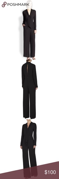 🌘BCBG Max Azria Long-Sleeve Black Jumpsuit size 0 super sexy but still look like a boss 👊🏻 Worn once to a work event and got so many compliments. Dry cleaned and ready to wear! Feel free to make an OFFER!! 👌🏻💕 All of my items come from a smoke free and pet free home! Happy to bundle multiple items!! 🌺🌼🌸 Cheers!✨ BCBGMaxAzria Other