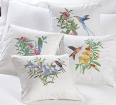 Embroidered Hummingbird Throw Pillows