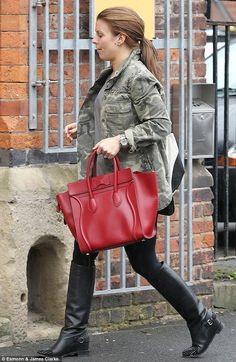 Celine Mini Luggage/Boston Tote ever glistening - in fiery RED.  Coleen Rooney chose well!