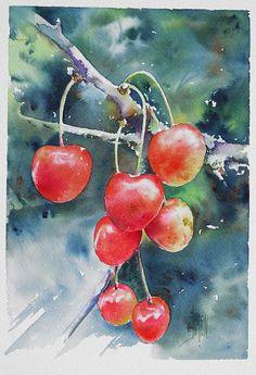 """Cherries"" - Joel Simon, watercolor {step-by-step demonstration of still-life food painting} joel-simon.fr"