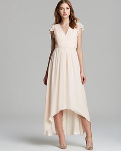 pinning for CA - Jill Jill Stuart Dress - V Neck Ruffle Sleeve Chiffon with High/Low Hem | Bloomingdale's