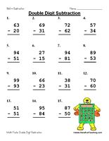 Double Digit Subtraction Worksheet: 5 different double digit math fact worksheets. One for each day of the week. That is 75 math fact problems. No Regrouping.