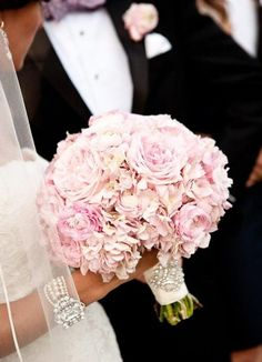 Bridal Hand Bouquet in soft Pink mixture of Hydrangea and Roses Classic and Elegant timeless beauty adorned with crystal brooch, Keepsake Bouquet. Bridesmaids hand bouquet and Rose Boutonniere available for custom made order Bouquet Bride, Flower Bouquet Wedding, Floral Wedding, Hand Bouquet, Flower Bouquets, Purple Wedding, Perfect Wedding, Our Wedding, Dream Wedding