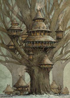 Tree village by Hetman80 on @DeviantArt