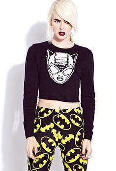 Cropped Catwoman™ Sweater | FOREVER21 + Batman logo leggings.