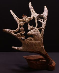 I like antler carvings because the antlers of deer, elk, etc are shed, (fall off) naturally every year. Thus the antler can be picked up and used like ivory in making artwork without harming the animal in any way!
