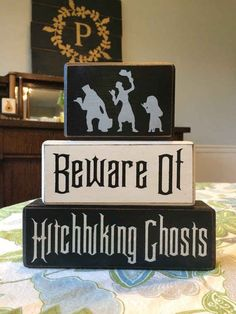 Haunted Mansion Hitchhiking ghost stacking wood blocks, painted sign blocks, Halloween decoration, unique disney fan gift designed by Apple Jack Designs Disney Halloween Decorations, Halloween Signs, Halloween Ghosts, Halloween House, Holidays Halloween, Fall Halloween, Halloween Crafts, Halloween Ideas, Disney Halloween Parties