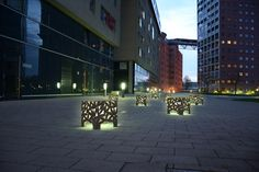 Perfect for creating a cozy atmosphere in public areas - BIG BUX seats combined with lights create most beautiful effects. Street Furniture, Most Beautiful, Sidewalk, Public, Cozy, Lights, Steel, Create, Big