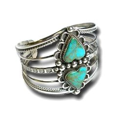 Cuff | Designer ?. Sterling silver and turquoise. heart
