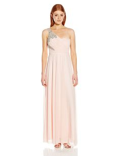 b44280033f60 Junior's One Shoulder Long Prom Dress With Cute Bar Back - Blush -  CN12B27A7PN