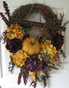 Front Door Wreath Fall Floral Wreath Purple & gold by FunFlorals