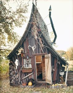 """Building by The Rustic Way~Looks the cutest """"Witch house"""" I've ever seen! Building by The Rustic Way~Looks the cutest Witch house I've ever seen! Witch Cottage, Witch House, Fairy Houses, Play Houses, Crooked Tree, Crooked House, Crooked Man, Tree House Designs, Unusual Homes"""