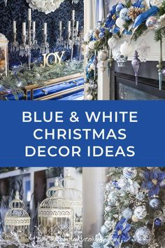 I love this blue and white Christmas home tour. All kinds of Christmas decorating ideas for the tree, living room, table and fireplace mantle. Christmas House Lights, Christmas Decorations For The Home, Christmas Table Settings, Christmas Tablescapes, Holiday Decor, Outdoor Christmas, White Christmas, Christmas Home, Christmas Mantles