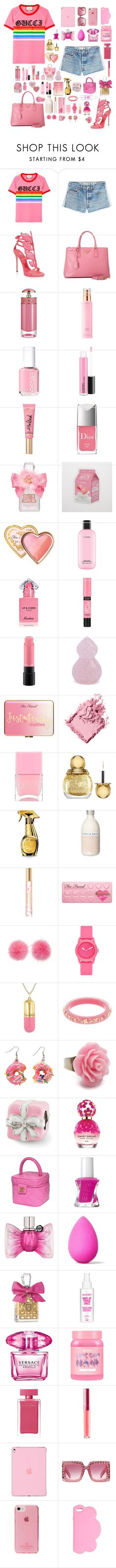 """Strawberry Milkshake"" by ciaobella18 ❤ liked on Polyvore featuring Gucci, RE/DONE, Giuseppe Zanotti, Prada, KORA Organics by Miranda Kerr, Essie, Too Faced Cosmetics, Christian Dior, Juicy Couture and Aerie"
