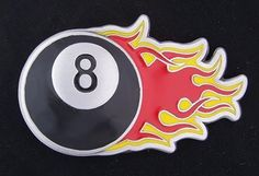 FLAMING 8 BALL BUCKLE