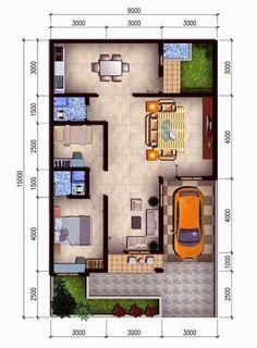 5 Denah Rumah Minimalis Modern Type 36 Terbaru 2019 House Layout Plans, My House Plans, Small House Plans, House Layouts, House Floor Plans, Home Map Design, Modern Home Interior Design, Home Design Plans, Minimalist Interior