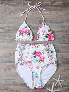 Floral Lace-Up High Waisted Bikini Set - Floral S