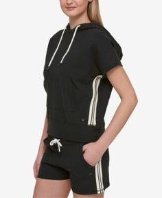 Tommy Hilfiger Cropped Short-Sleeve Hoodie, Only at Macy's - Black XL