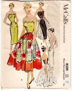 "ORIGINAL Vintage Sewing Pattern 1950's Ladies Dress McCall's 8509 Size 32"" Bust"