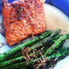 Crispy bourbon glazed salmon and balsamic asparagus :)