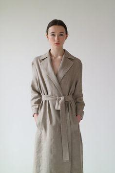 Irish linen long coat, made in Ireland, by 31 Chapel Lane