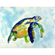 Wonderful watercolor hues in tropical blue and green shades make up these Island Blue Sea Turtle placemats.