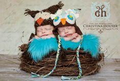 SET Olive Fur & Large Wood Branch Nest Owl Bird Photography Prop Newborn Baby Toddler