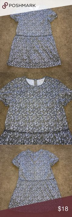 Gap Floral Mini Dress Floral mini dress with puff sleeve. Exposed zipper in the back. It is meant to fit loose with ruffle at lower waist. From shoulder to hem 35 inches. Colors are navy, taupe, white and light blue. GAP Dresses Mini