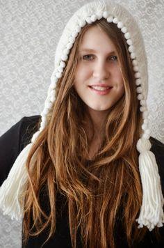 Hand Knit Hat Womens Hat Knit Hood Earflap  Tassel by irinacarmen, $44.00