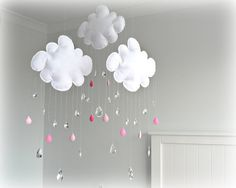 Rain Cloud Mobile - Nursery Decor - White Clouds - Crystals - Pink Raindrops…