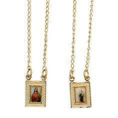 Gold Filled 18k Scapular Sacred Heart Jesus Virgin Mary Painting Medal Necklace in Rosaries   eBay