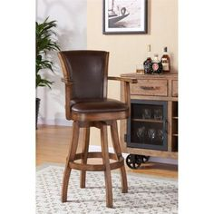 Armen Living Raleigh Arm 26 inch Counter Height Swivel Wood Barstool in Chestnut Finish and Kahlua Pu, Brown