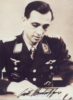 ✠ Erich Rudorffer (1 November 1917 - ) RK 01.05.1941 Leutnant Flugzeugführer i. d. 6./JG 2 + 11.04.1944 [447. EL] Hauptmann (Kr.O.) Kdr II./JG 54 + 26.01.1945 [126. Sw] Major Kdr II./JG 54