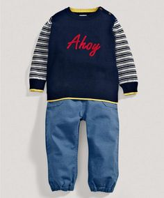 Two Piece 'Ahoy' Jumper and Trousers Set - Nautical Collection - Mamas & Papas